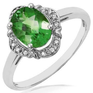 Vintage Inspired Oval Peridot Ring with Diamond Halo 14KT Gold
