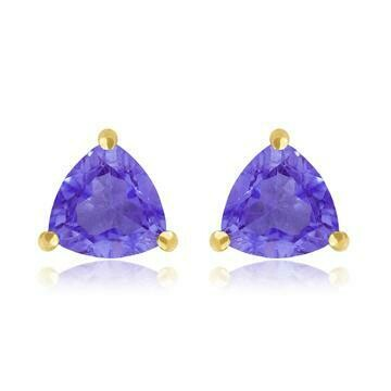 Triangular Amethyst Earrings Yellow Gold
