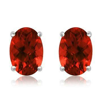 Oval Garnet Earrings 14KT Gold