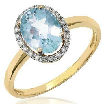 Oval Aquamarine Ring with Diamond Frame Yellow Gold