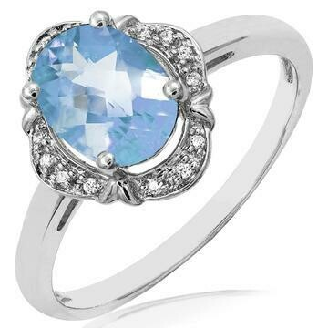 Vintage Inspired Oval Aquamarine Ring with Diamond Frame White Gold