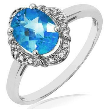Vintage Inspired Oval Blue Topaz Ring with Diamond Halo 14KT Gold