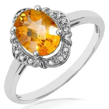 Vintage Inspired Oval Citrine Ring with Diamond Frame White Gold