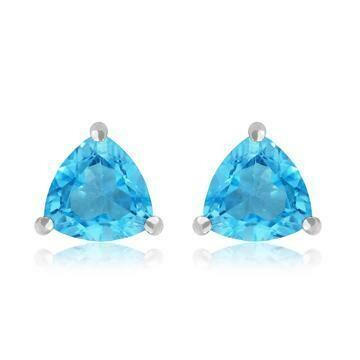 Triangular Blue Topaz Earrings 14KT Gold