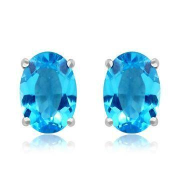 Oval Blue Topaz Earrings 14KT Gold