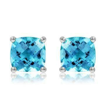 Cushion Blue Topaz Earrings 14KT Gold
