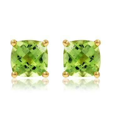 Cushion Peridot Earrings Yellow Gold