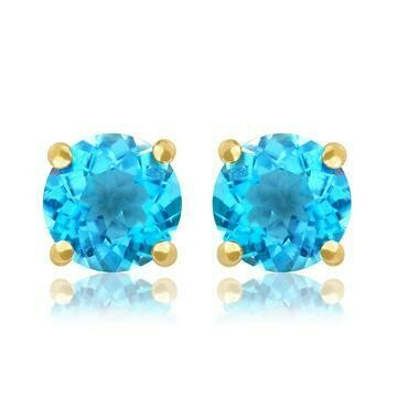 Round Blue Topaz Earrings Yellow Gold