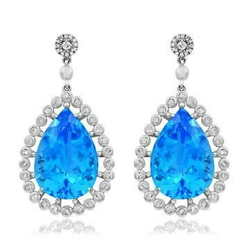 Premium Teardrop Blue Topaz Earrings with Diamond Accent 14KT Gold