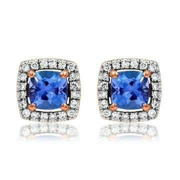 Cushion Tanzanite Earrings with Diamond Frame in Rose Gold