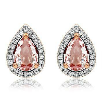 Tanzanite Morganite Stud Earrings with Diamond Halo in 14KT Rose Gold