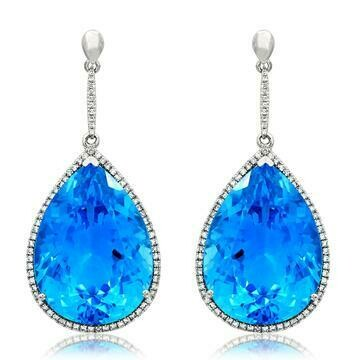 Premium Blue Topaz Dangle Earrings with Diamond Halo 14KT Gold