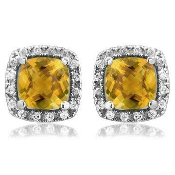 Cushion Citrine Stud Earrings with Diamond Frame White Gold