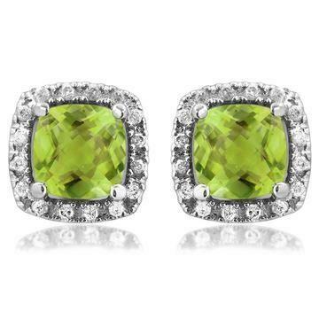 Cushion Peridot Stud Earrings with Diamond Halo 14KT Gold