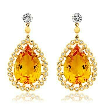 Premium Teardrop Citrine Earrings with Diamond Accent White Gold