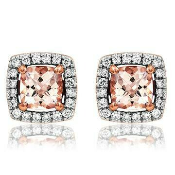 Cushion Morganite Earrings with Diamond Halo in 14KT Rose Gold