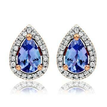 Tanzanite Teardrop Stud Earrings with Diamond Frame in Rose Gold