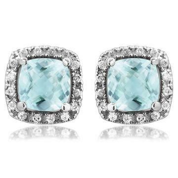 Cushion Aquamarine Stud Earrings with Diamond Frame White Gold
