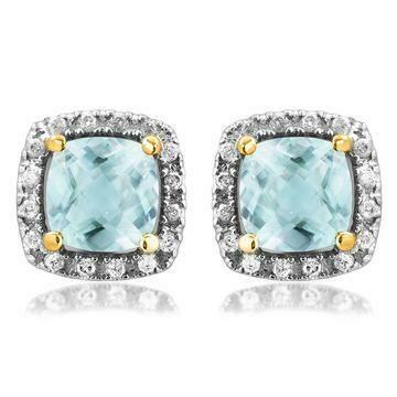 Cushion Aquamarine Stud Earrings with Diamond Frame Yellow Gold
