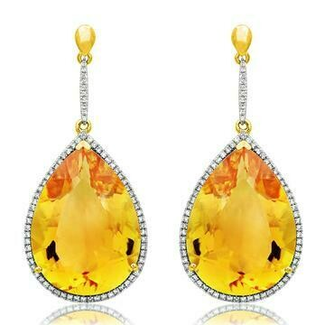 Premium Citrine Dangle Earrings with Diamond Frame Yellow Gold