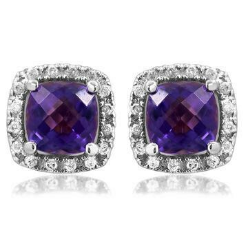 Cushion Amethyst Stud Earrings with Diamond Frame White Gold