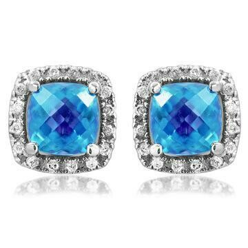Cushion Blue Topaz Stud Earrings with Diamond Halo 14KT Gold