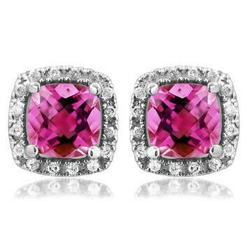 Cushion Pink Topaz Stud Earrings with Diamond Halo 14KT Gold