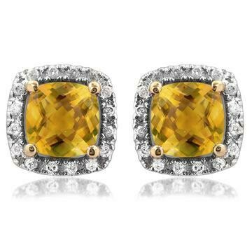 Cushion Citrine Stud Earrings with Diamond Frame Yellow Gold