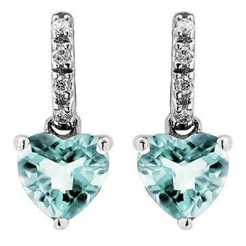Heart Aquamarine Earrings with Diamond Accent White Gold