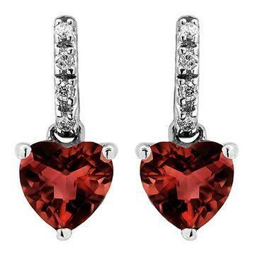 Heart Garnet Earrings with Diamond Accent 14KT Gold