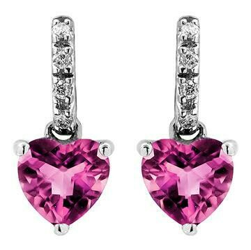Heart Pink Topaz Earrings with Diamond Accent 14KT Gold