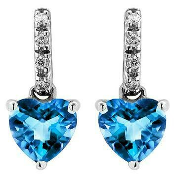 Heart Blue Topaz Earrings with Diamond Accent 14KT Gold