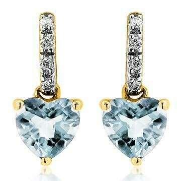 Heart Aquamarine Earrings with Diamond Accent Yellow Gold