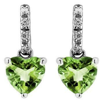 Heart Peridot Earrings with Diamond Accent 14KT Gold