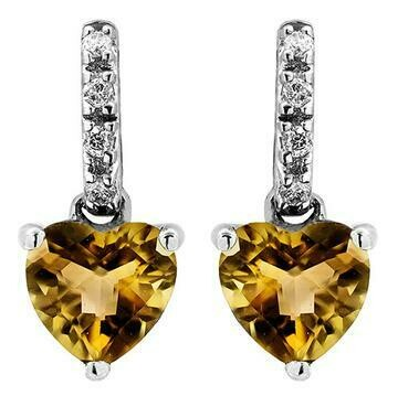 Heart Citrine Earrings with Diamond Accent White Gold