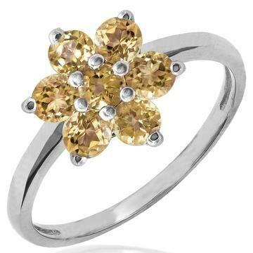 Floral Citrine Cluster Ring 14KT Gold