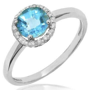 Blue Topaz Ring with Diamond Halo 14KT Gold