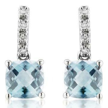 Cushion Aquamarine Earrings with Diamond Accent White Gold