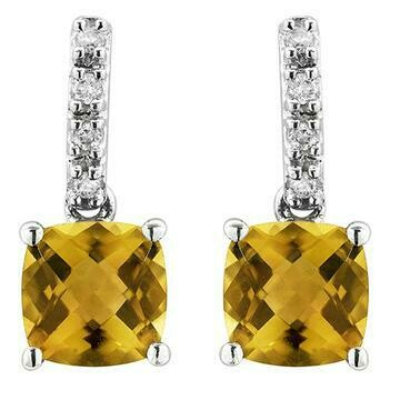 Cushion Citrine Earrings with Diamond Accent White Gold
