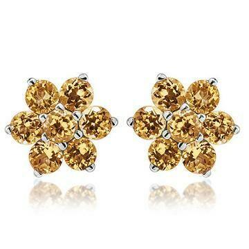 Floral Cluster Citrine Stud Earrings 14KT Gold