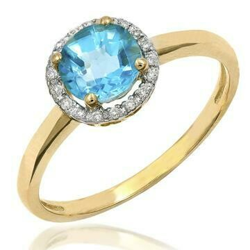 Blue Topaz Ring with Diamond Frame Yellow Gold