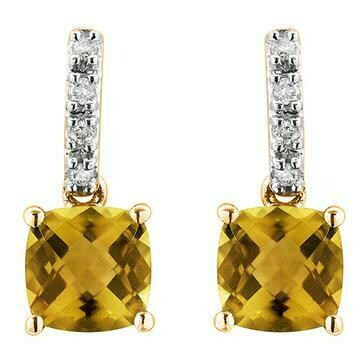 Cushion Citrine Earrings with Diamond Accent Yellow Gold