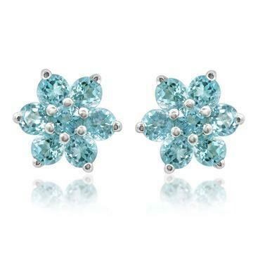 Floral Aquamarine Stud Earrings White Gold