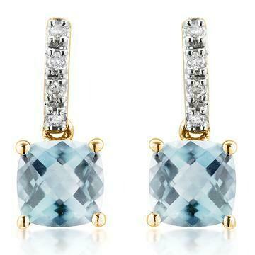 Cushion Aquamarine Earrings with Diamond Accent Yellow Gold