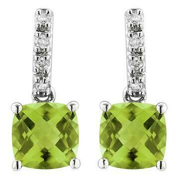 Cushion Peridot Earrings with Diamond Accent 14KT Gold