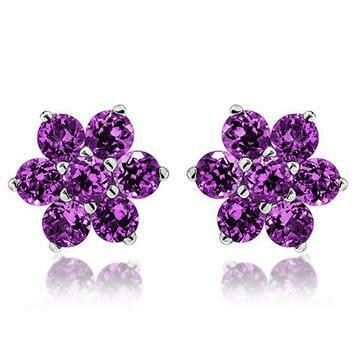 Floral Amethyst Stud Earrings White Gold
