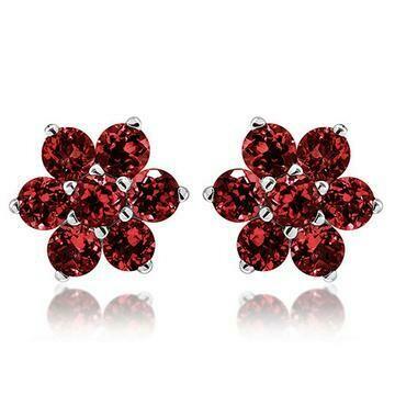 Floral Cluster Garnet Stud Earrings 14KT Gold