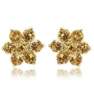 Floral Citrine Stud Earrings Yellow Gold