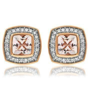 Cushion Morganite Stud Earrings with Diamond Frame 14KT Rose Gold