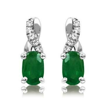 Oval Emerald Infinity Stud Earrings with Diamond Accent White Gold